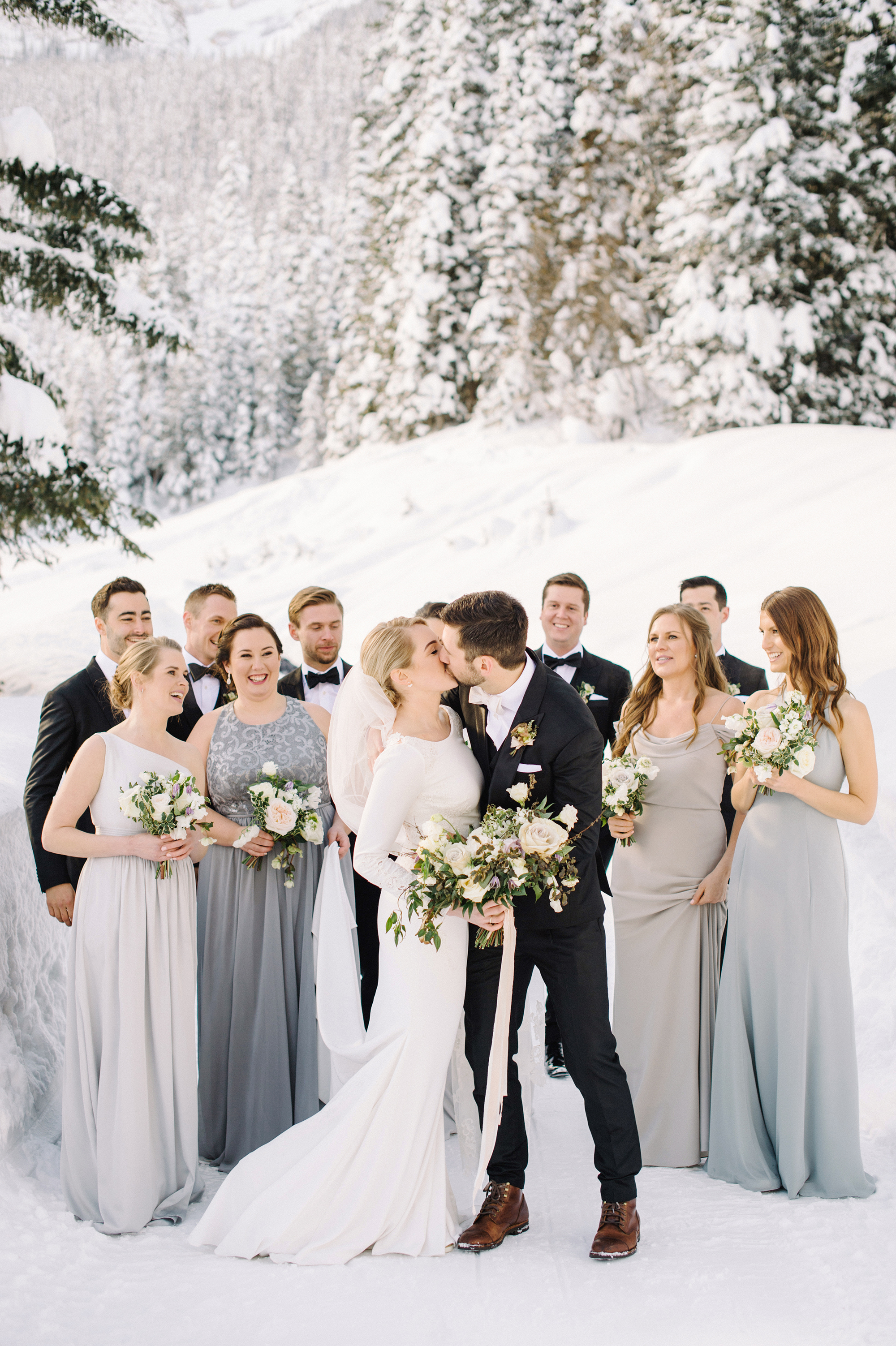 wedding party in the snow
