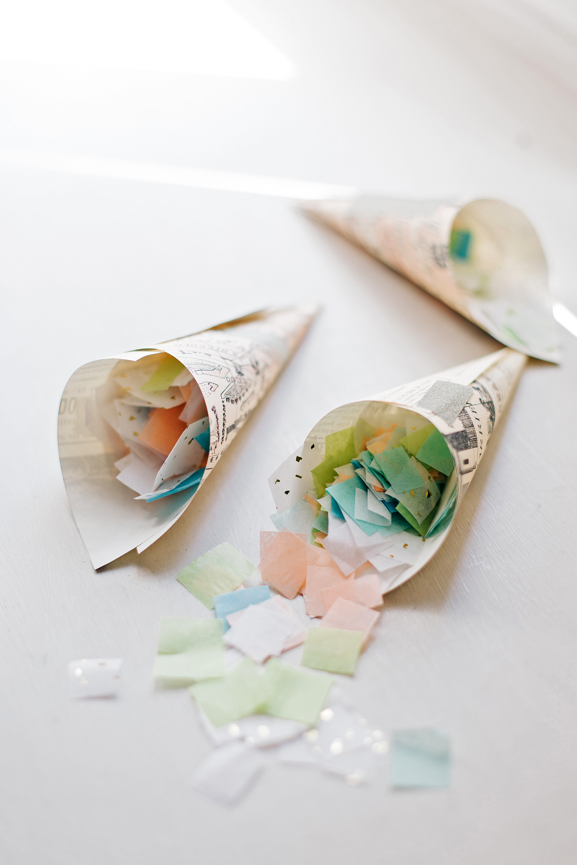 confetti in cones m and j photo