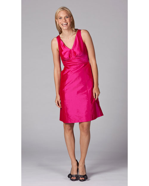 V-Neck Pink Bridesmaid Dress