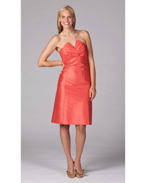 Short Orange Bridesmaid Dress