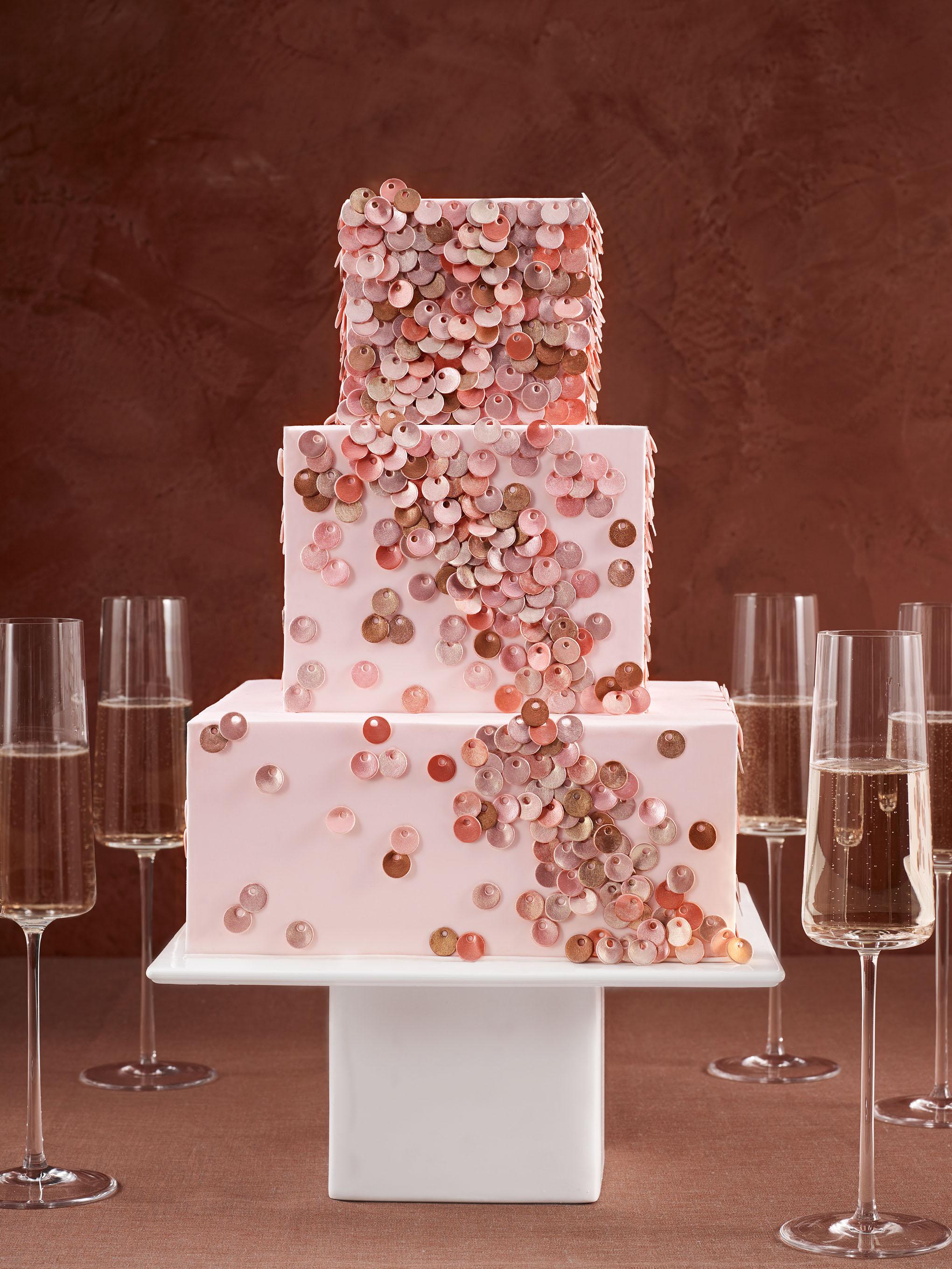 sequined wedding cake