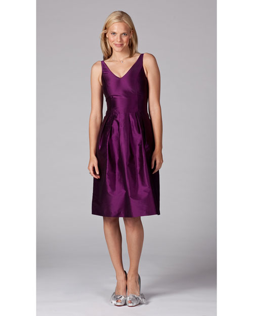 V-Neck Purple Bridesmaid Dress