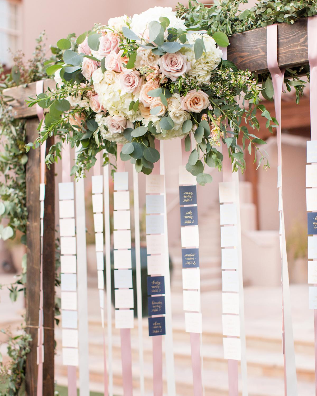 ribbon wedding ideas place cards adhered to pink ribbon