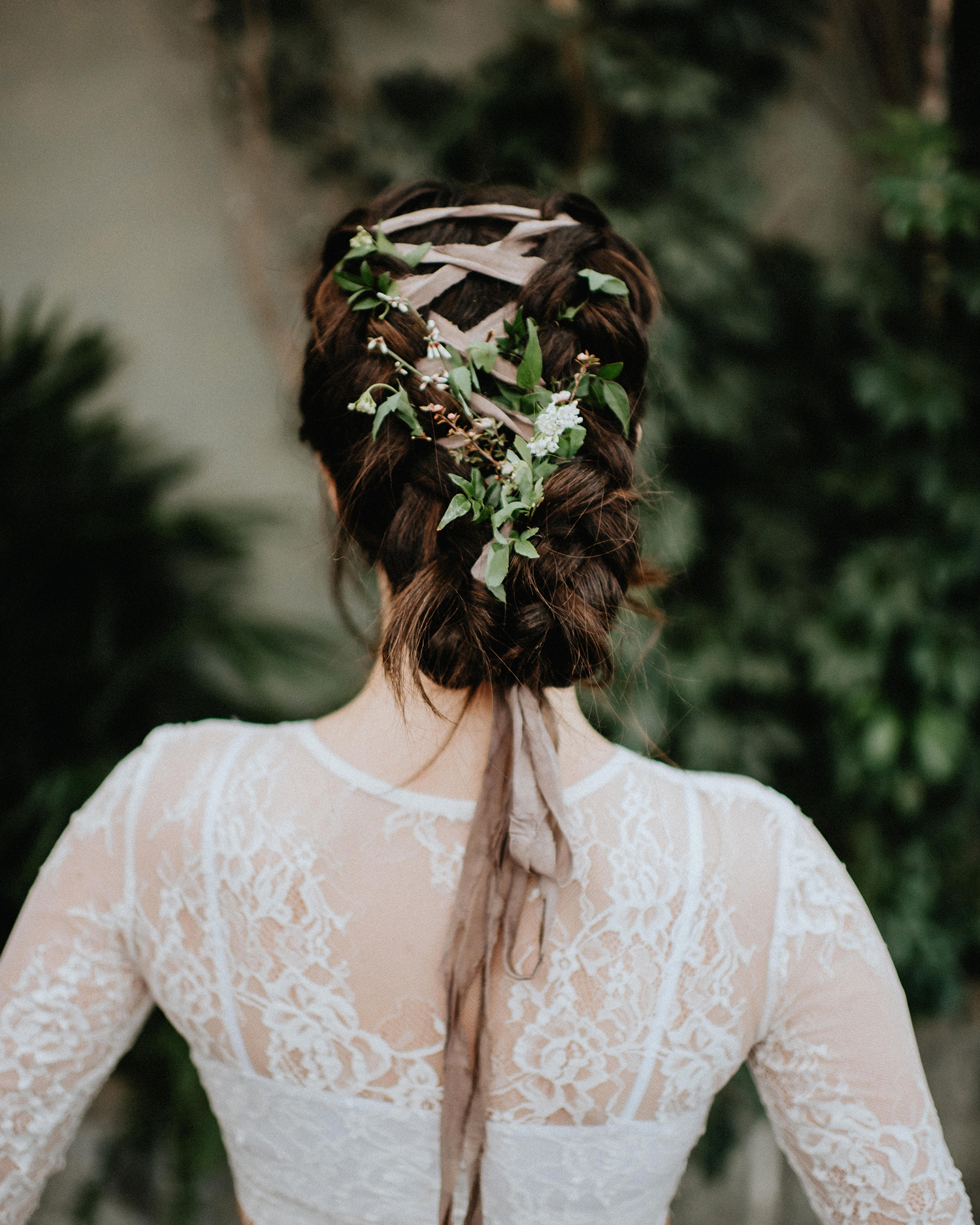 ribbon wedding ideas ribbon and flowers braided into brides hair