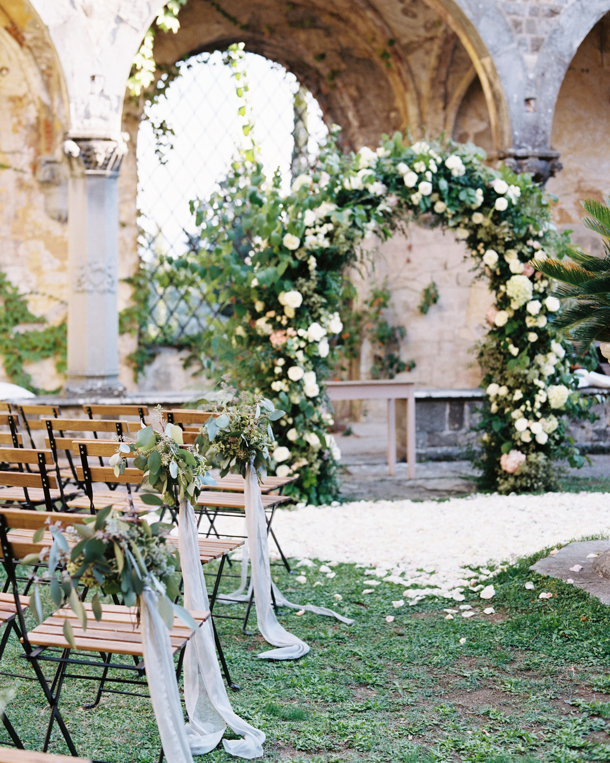 ribbon wedding ideas ribbon and eucalyptus leaves adhered to ceremony aisle chairs