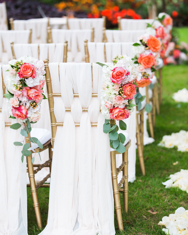 ribbon wedding ideas white ribbon woven through ceremony chair backs