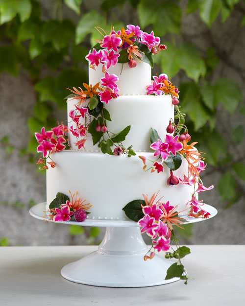A Wedding Cake with Flowers