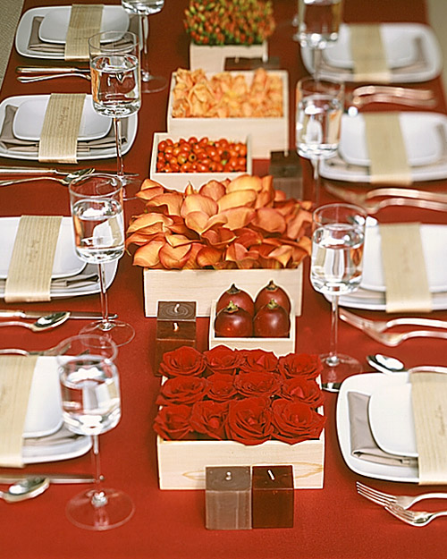 Boxed Wedding Centerpieces with Red Fruit and Flowers