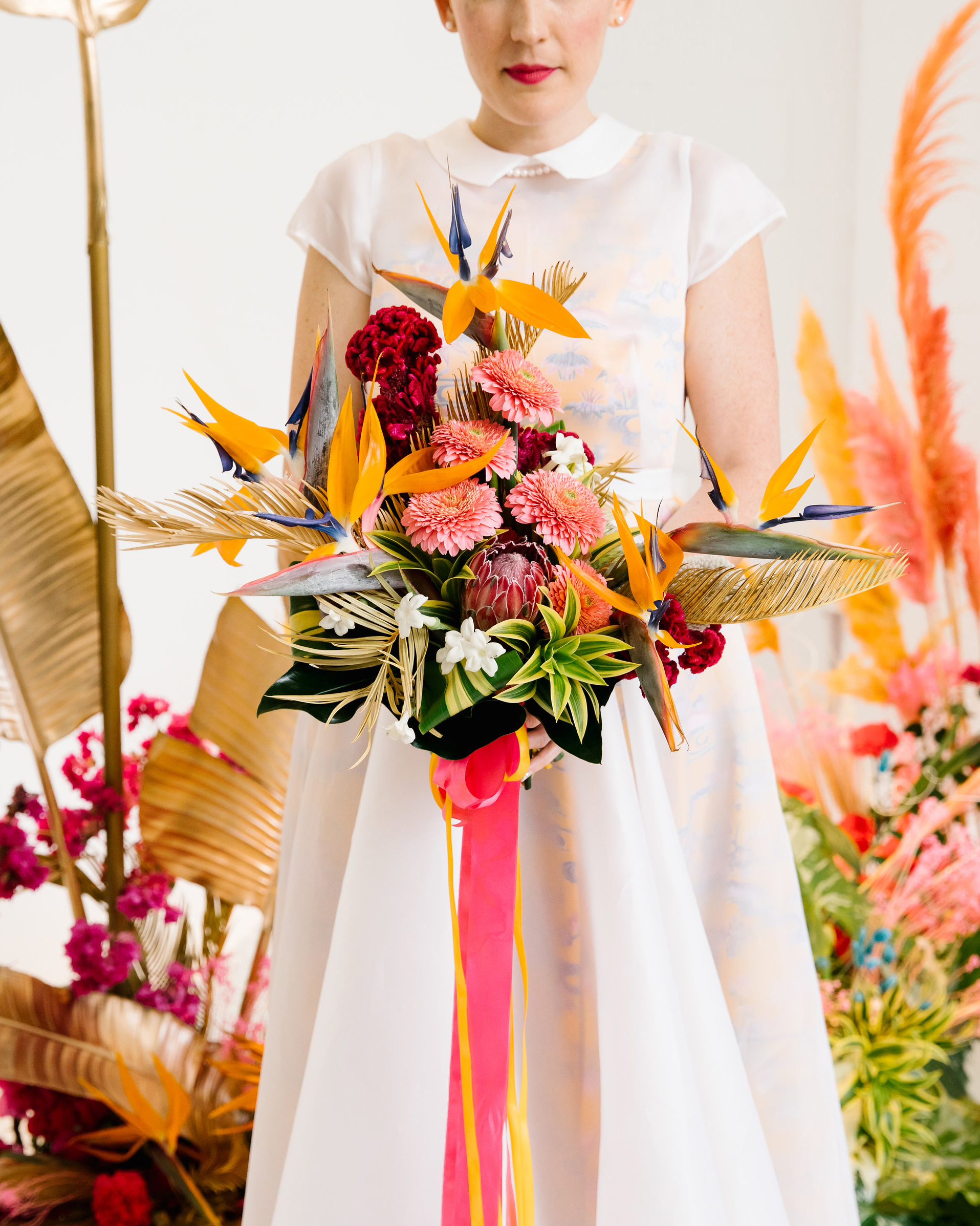tashina huy colorful wedding modern bouquet