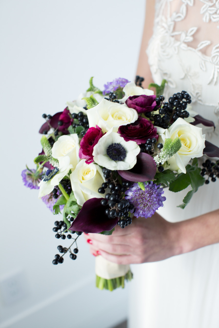 bouquet with maroon ranunculus