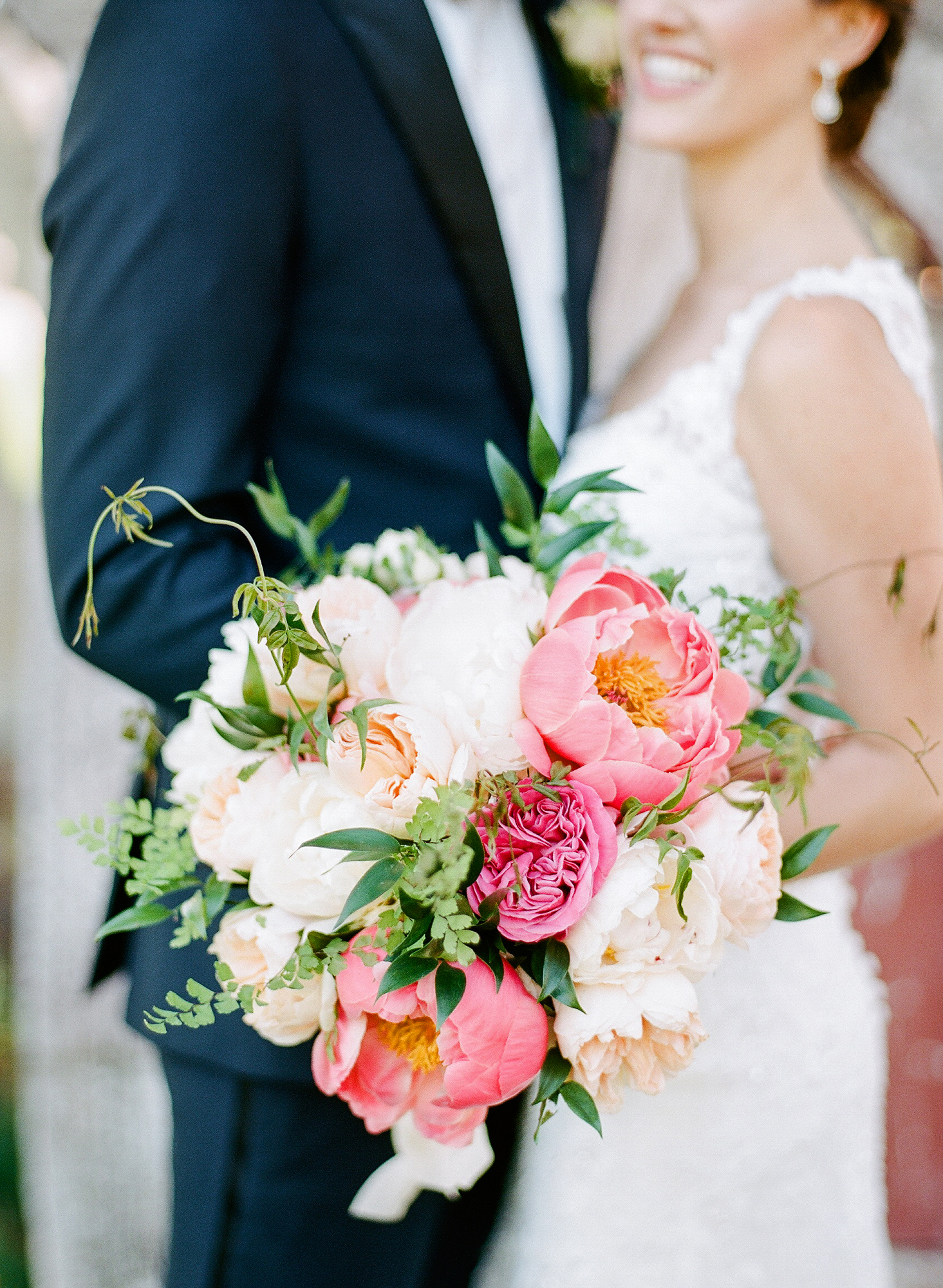 coral-and-white peony bouquet