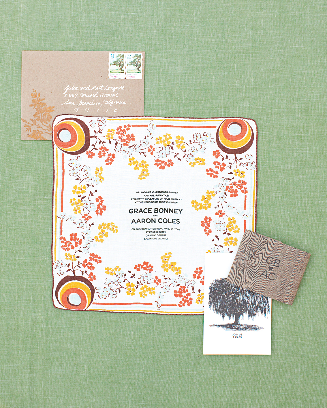 Bird and Banner, Vintage Handkerchief Invites