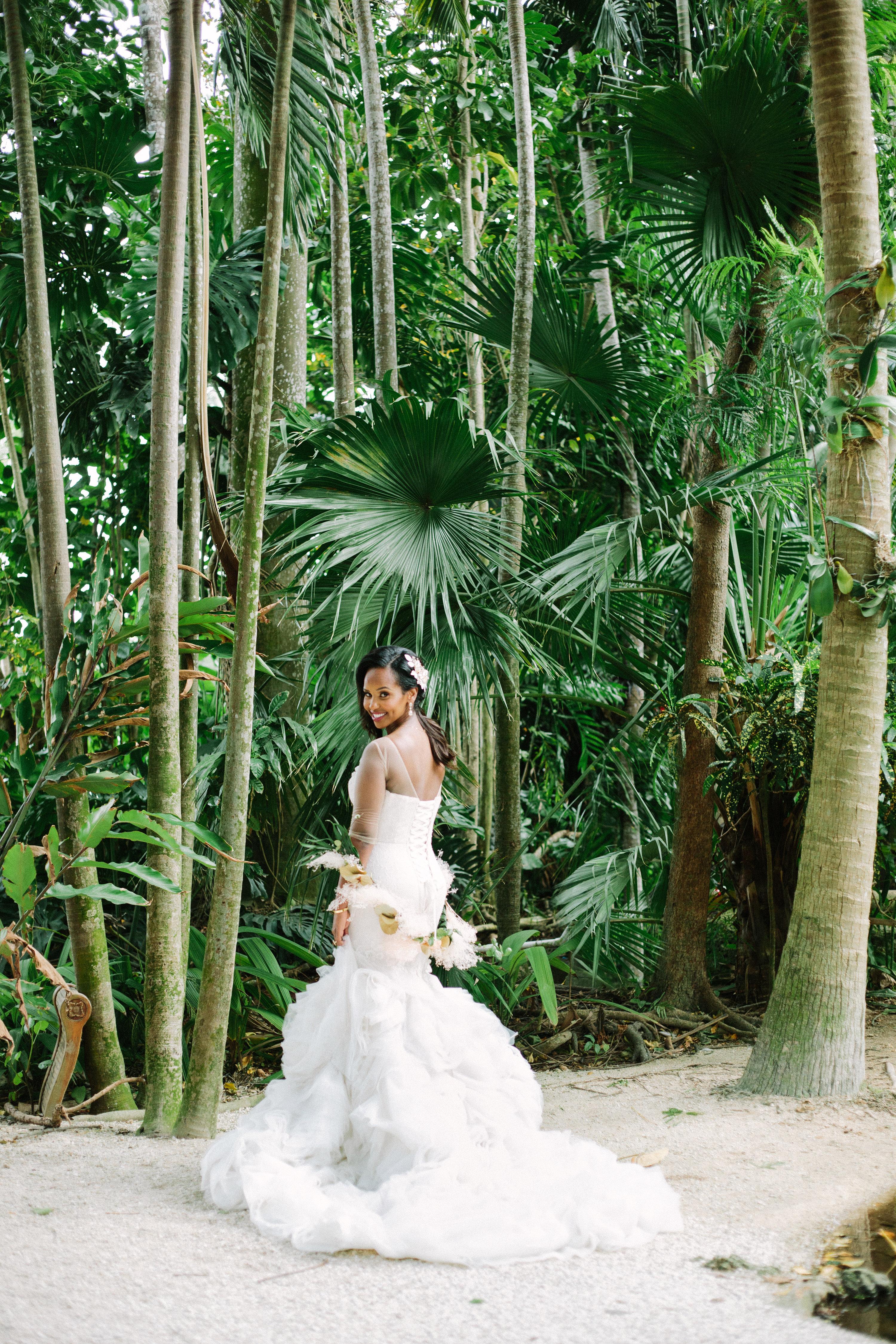destination wedding dress in jungle setting