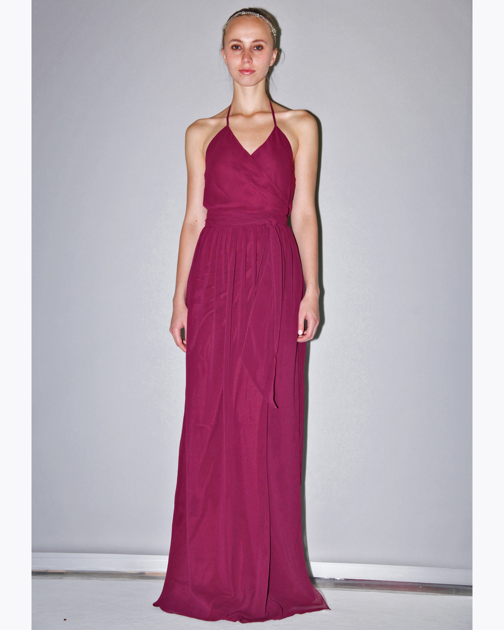 Long Fuscia Bridesmaid Dress