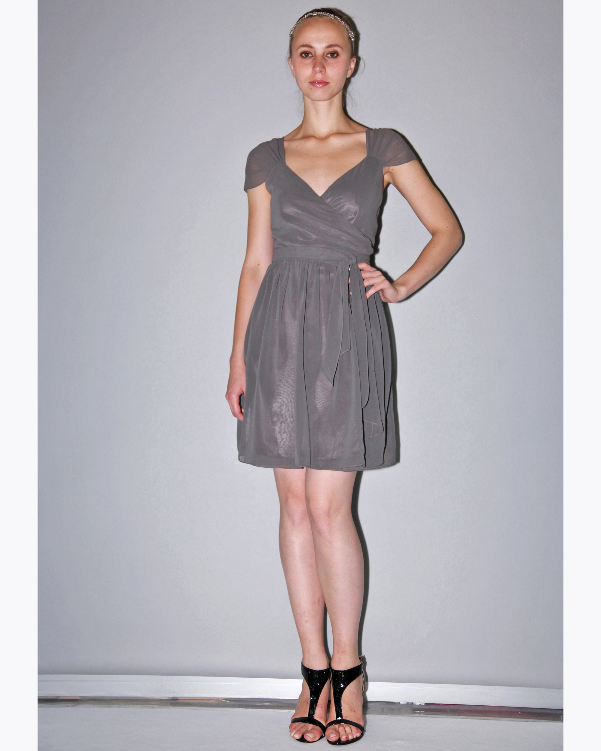 Short Taupe Bridesmaid Dress
