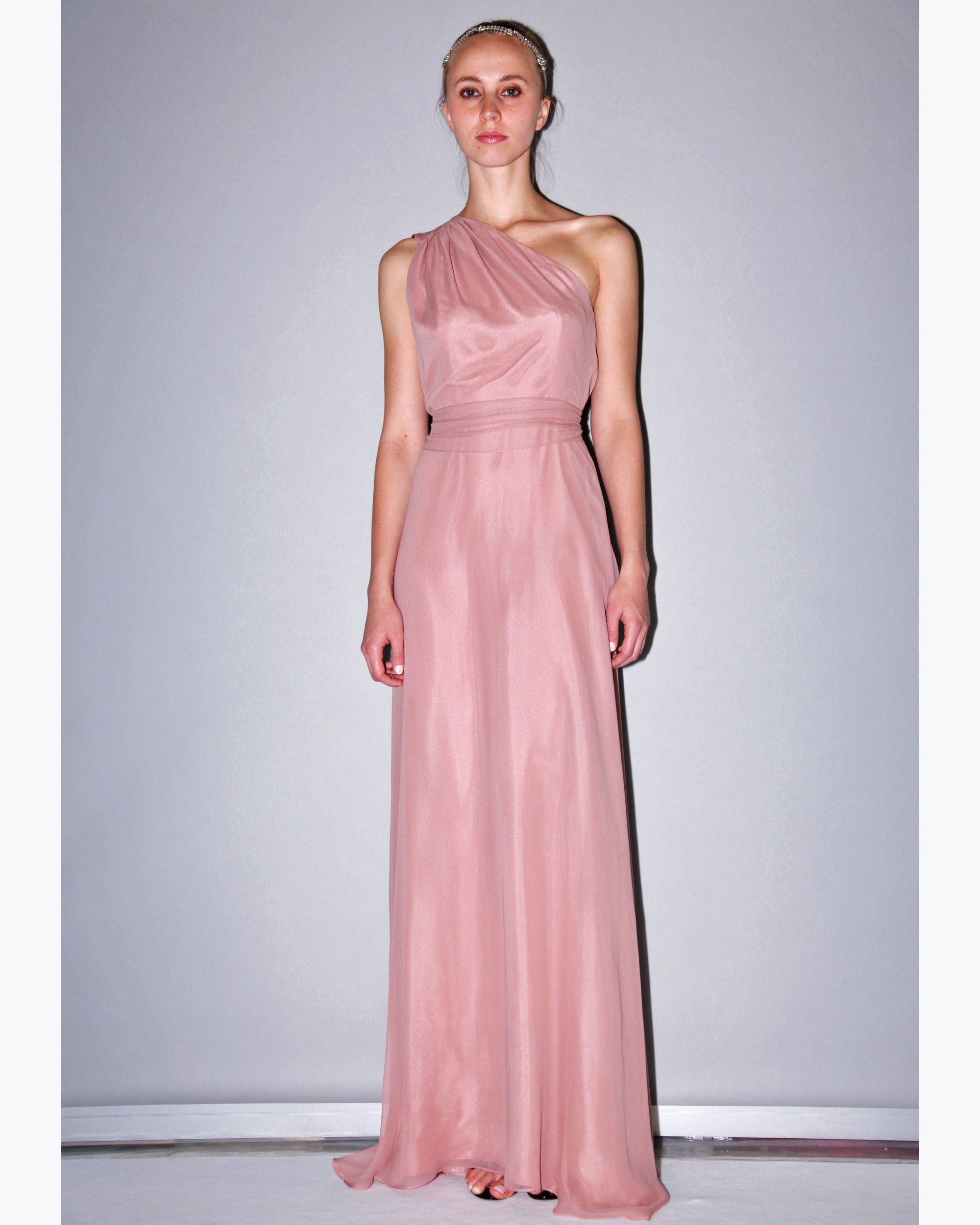 One-Shoulder Pink Bridesmaid Dress