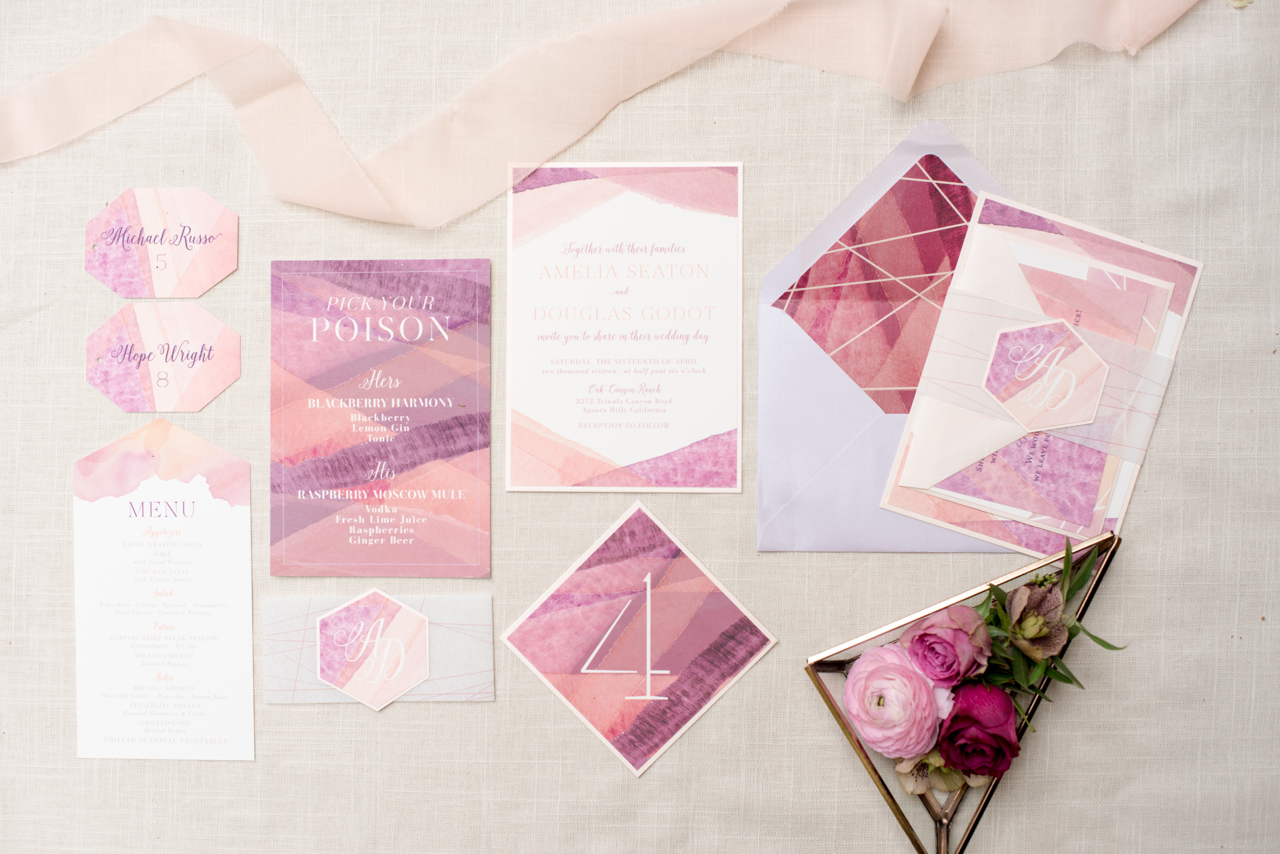 pink stationery suite