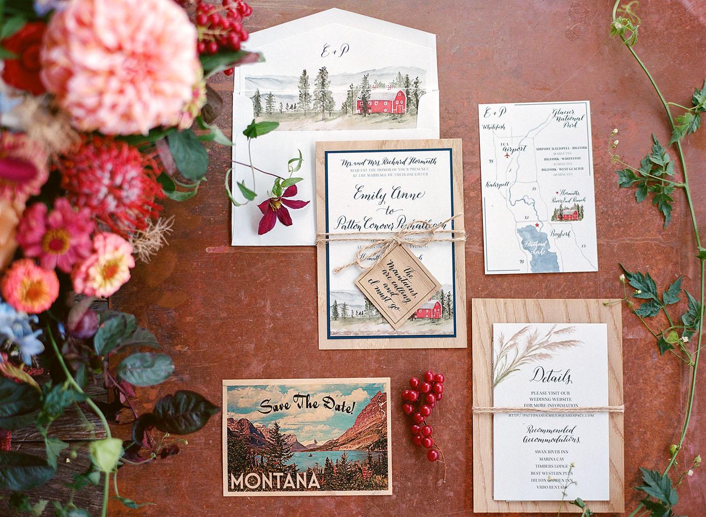 emily patton wedding montana stationery