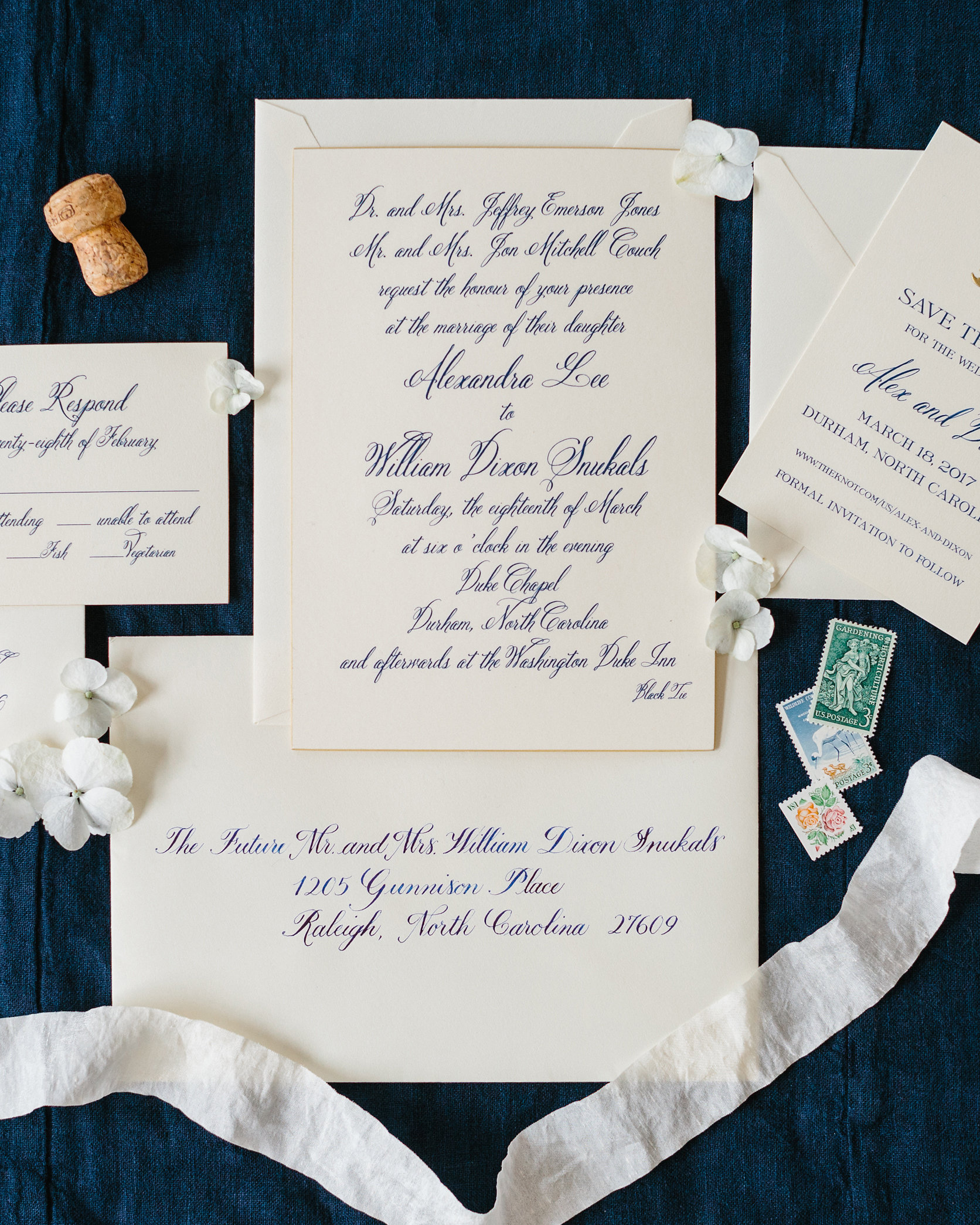 classic save the dates navy text color