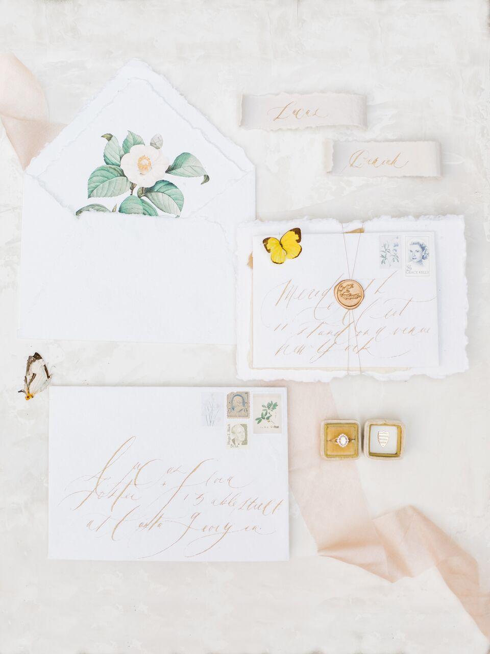 vintage invite with deckled edge paper and envelope illustration