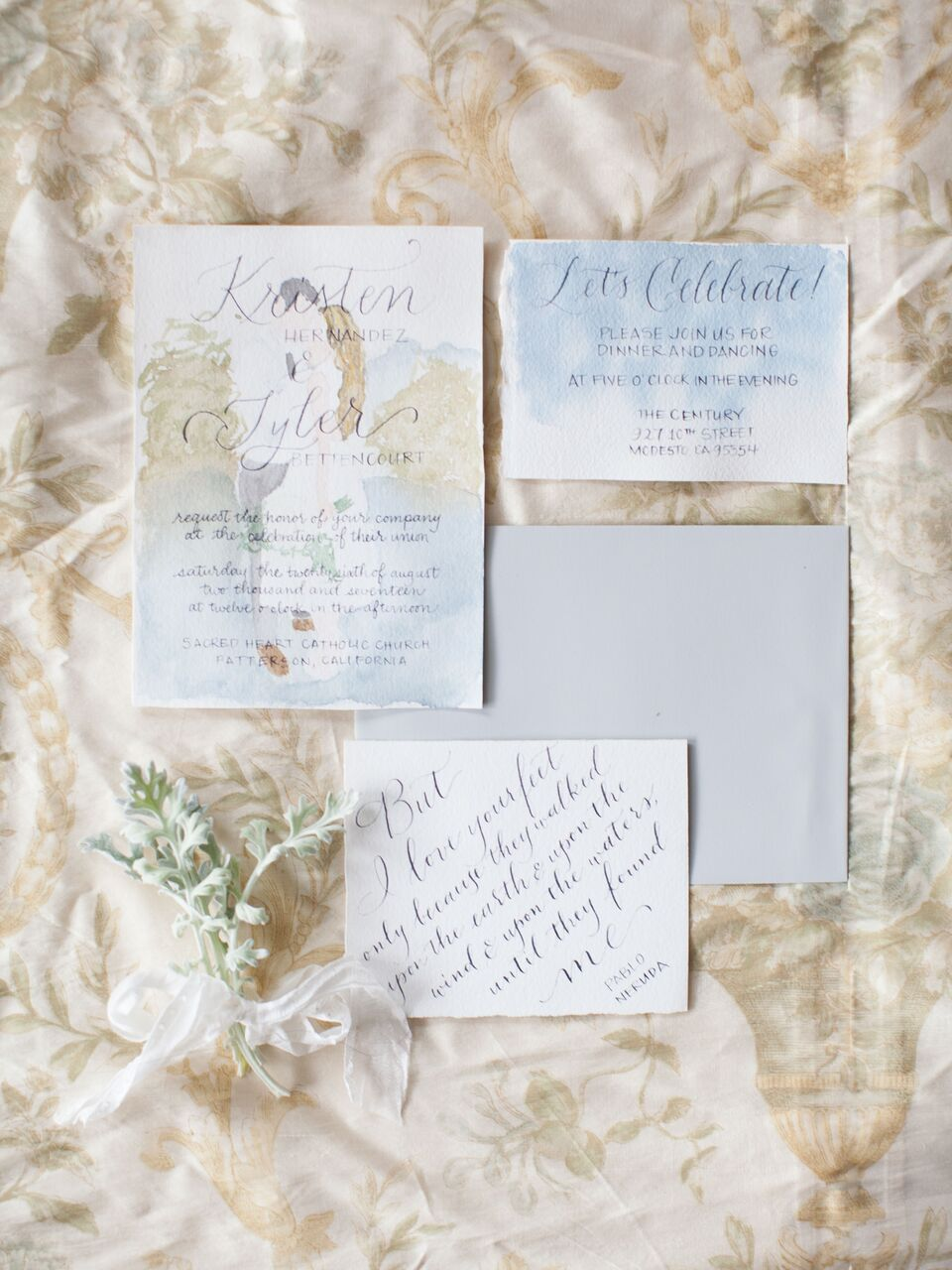 vintage invite with watercolor illustration