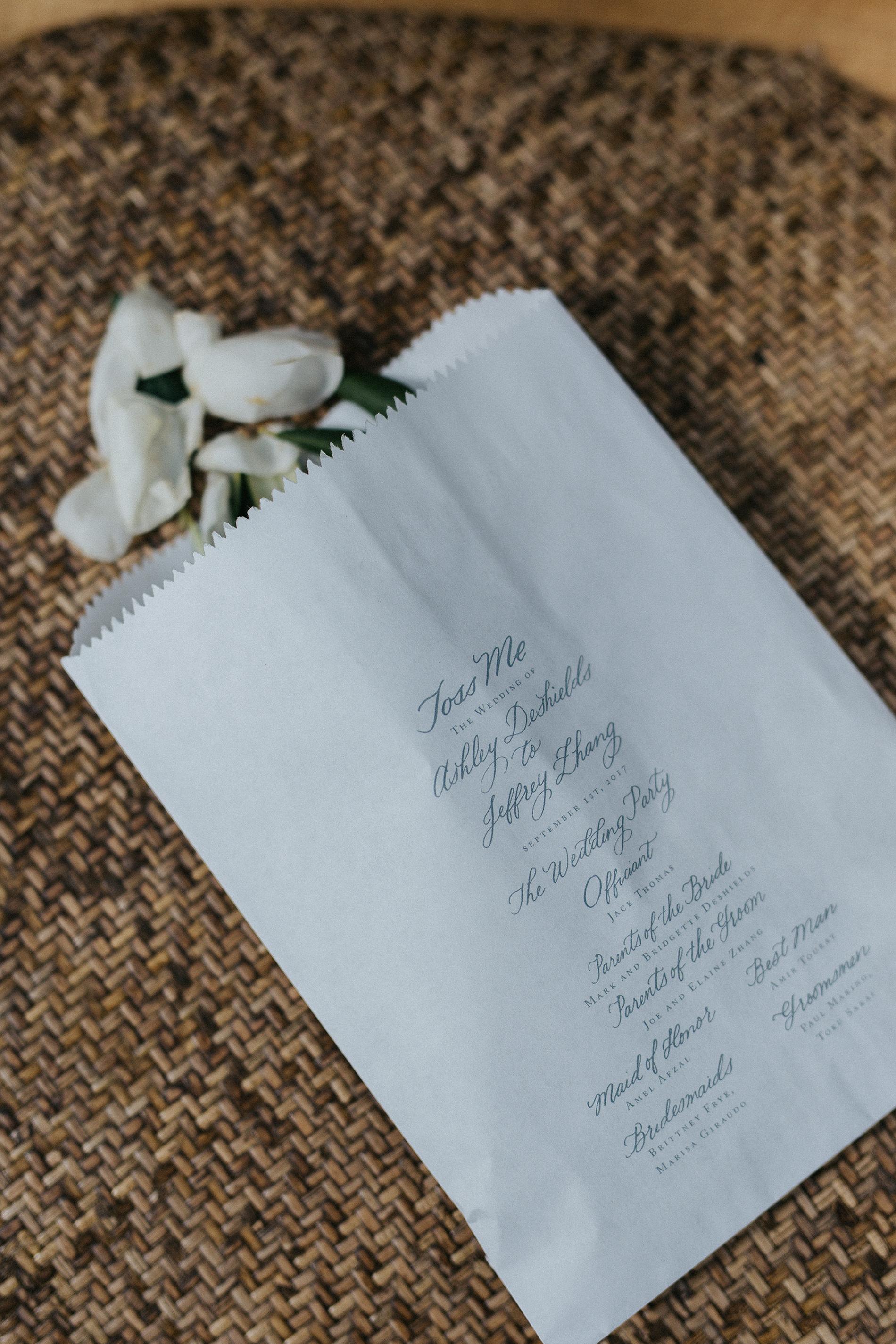 petal bag ceremony program