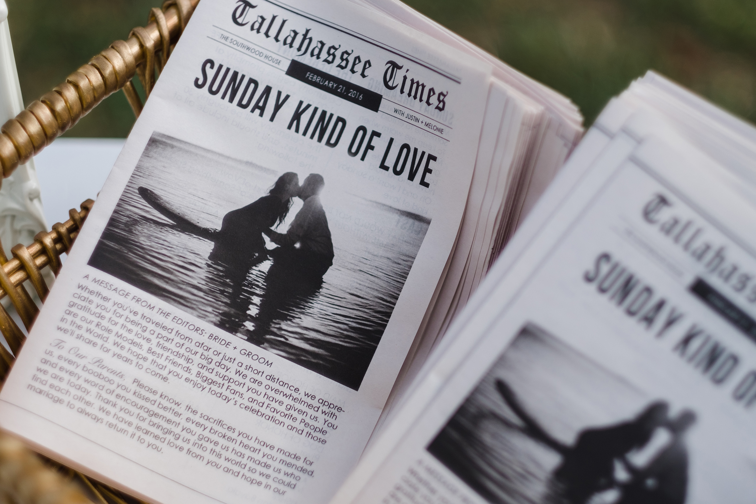 newspaper inspired ceremony program