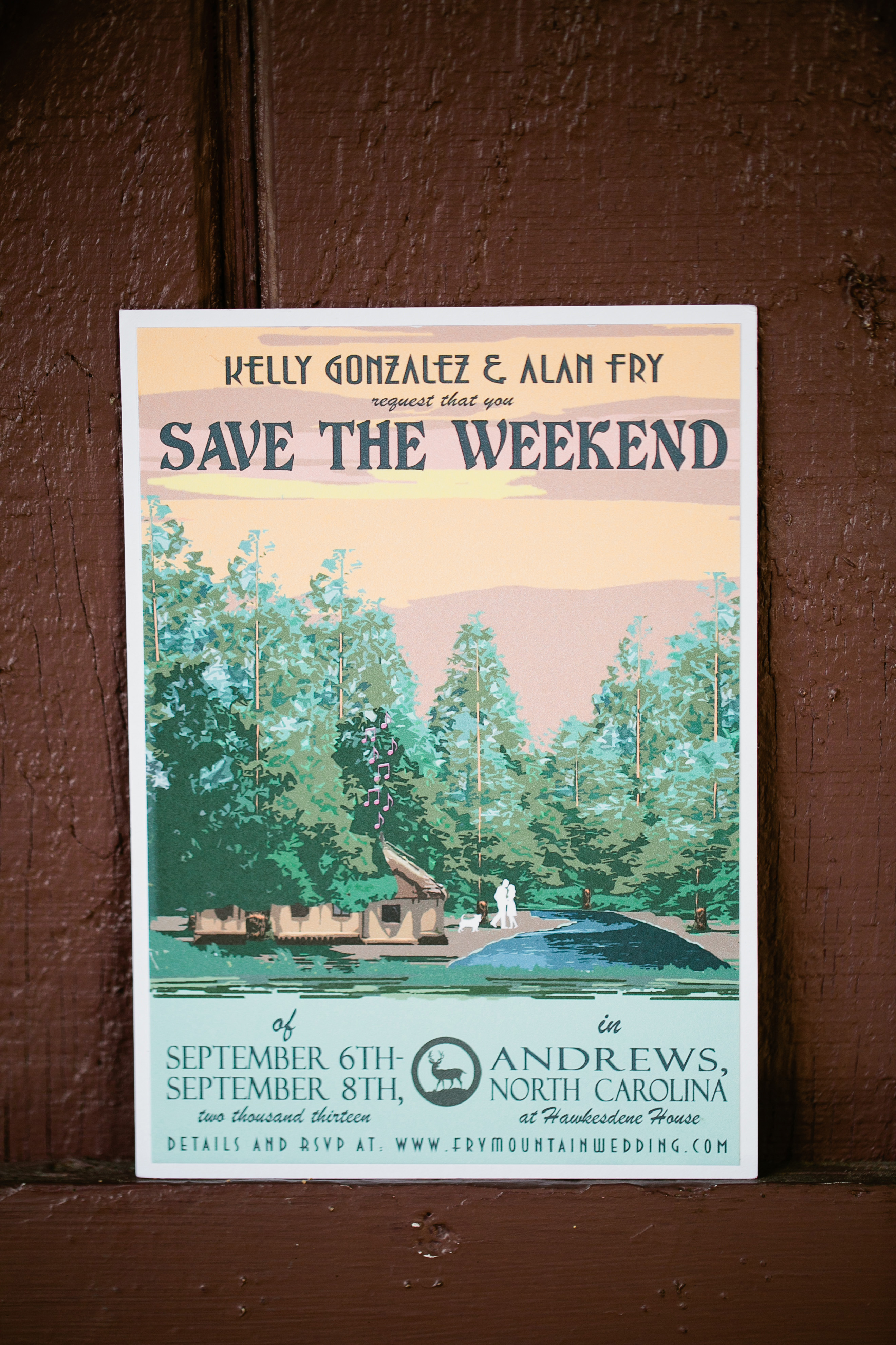 save the date vintage painting