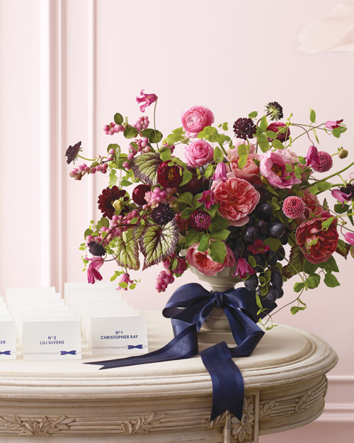 Pink-and-Navy Floral Arrangement