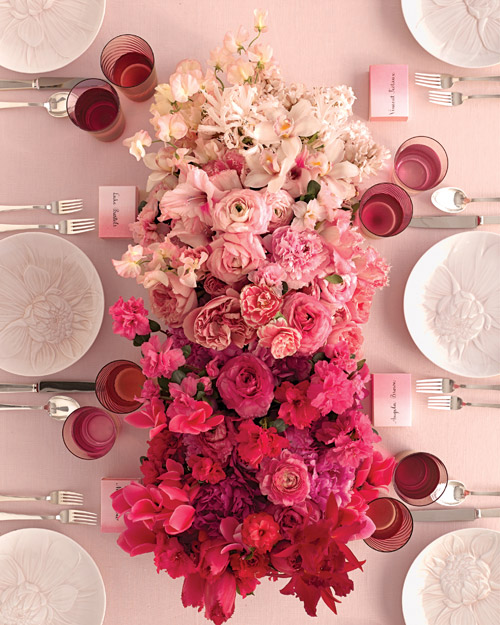Red and Pink Flower Box Wedding Centerpieces