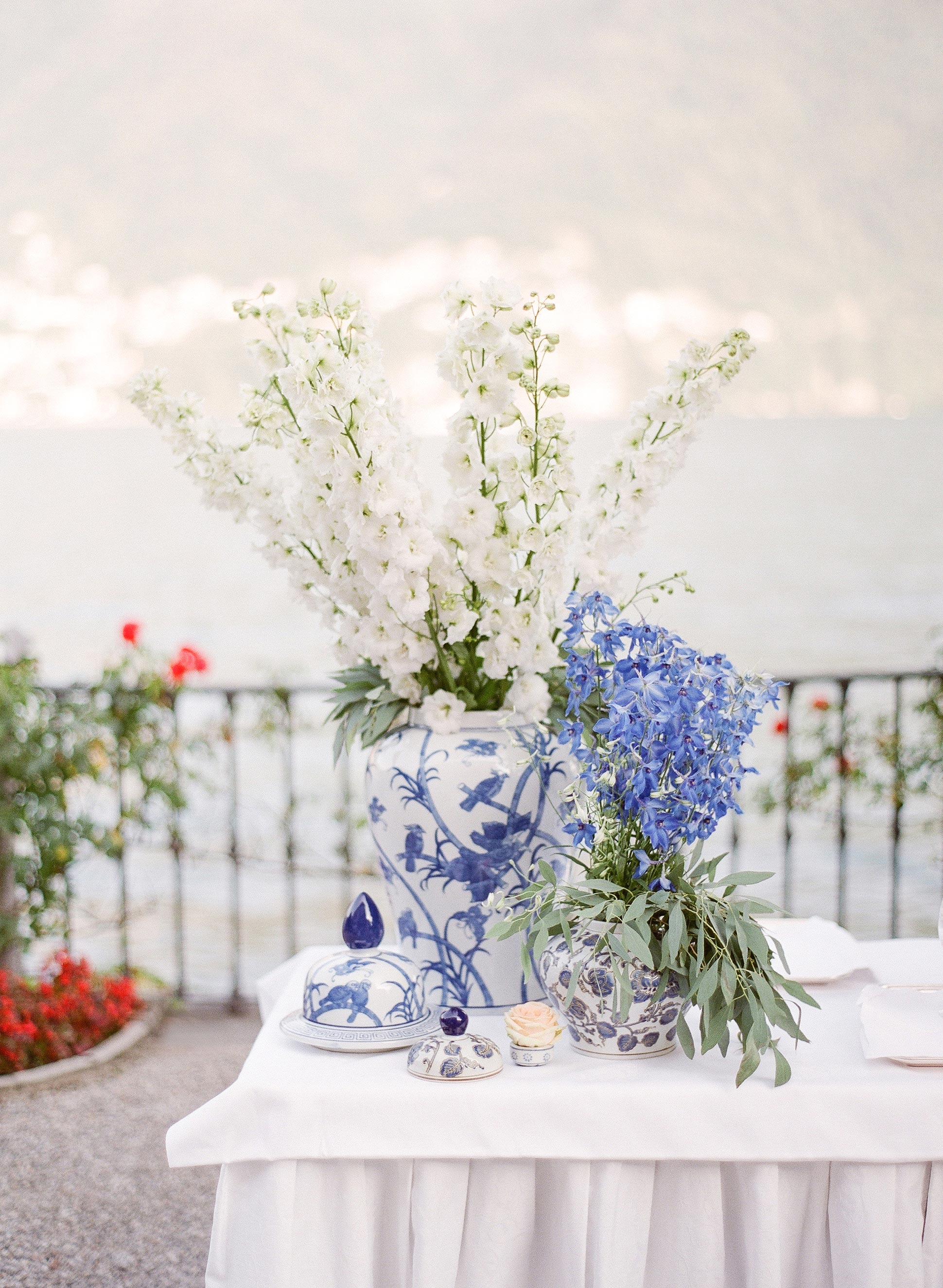 white and blue flower arrangement