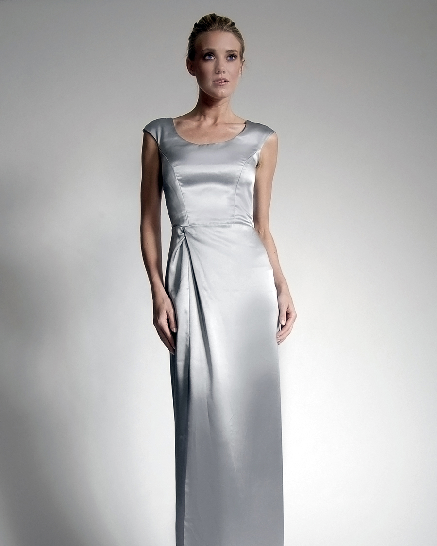 Floor-Length Silver Bridesmaid Dress