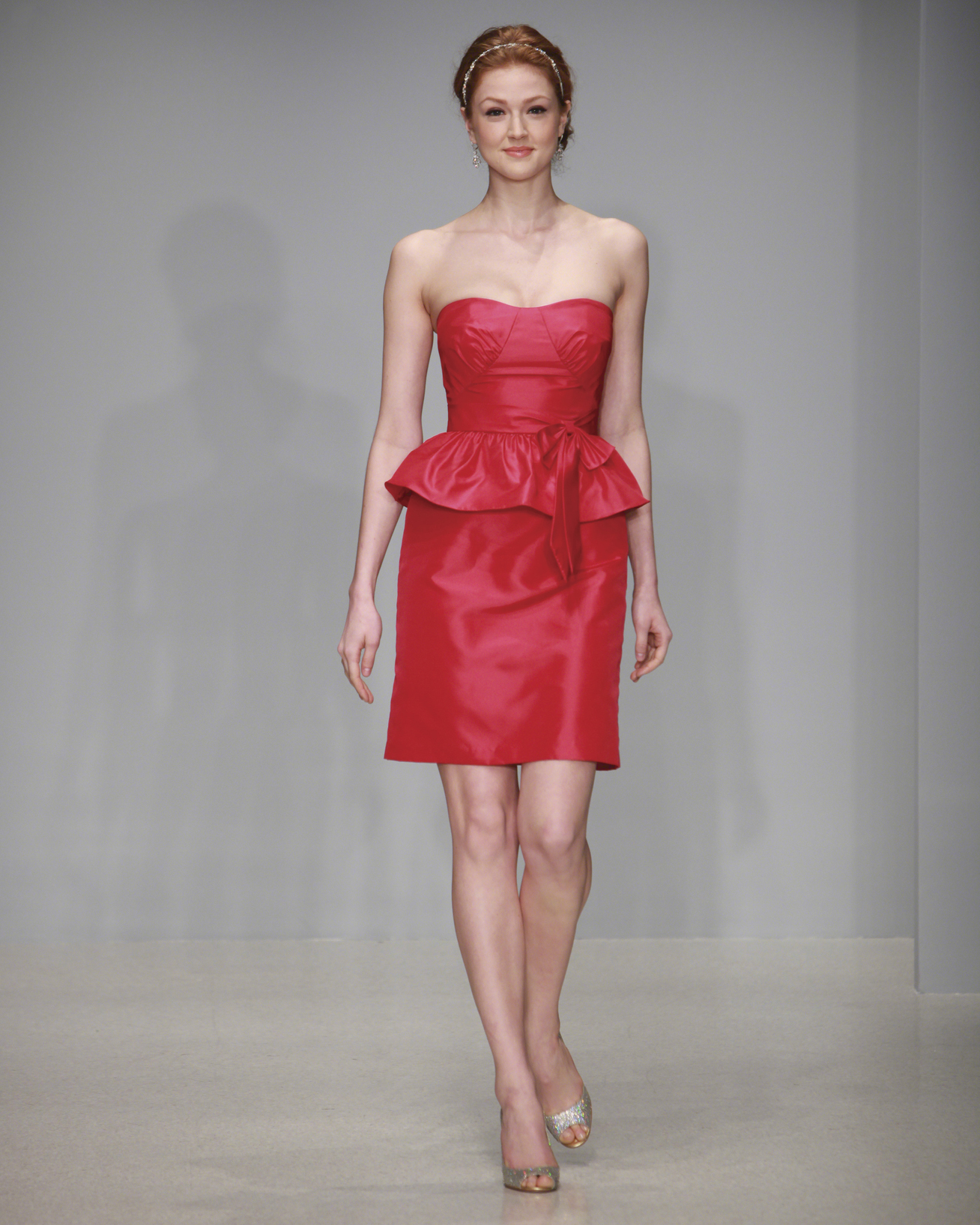Short Red Peplum Bridesmaid Dress
