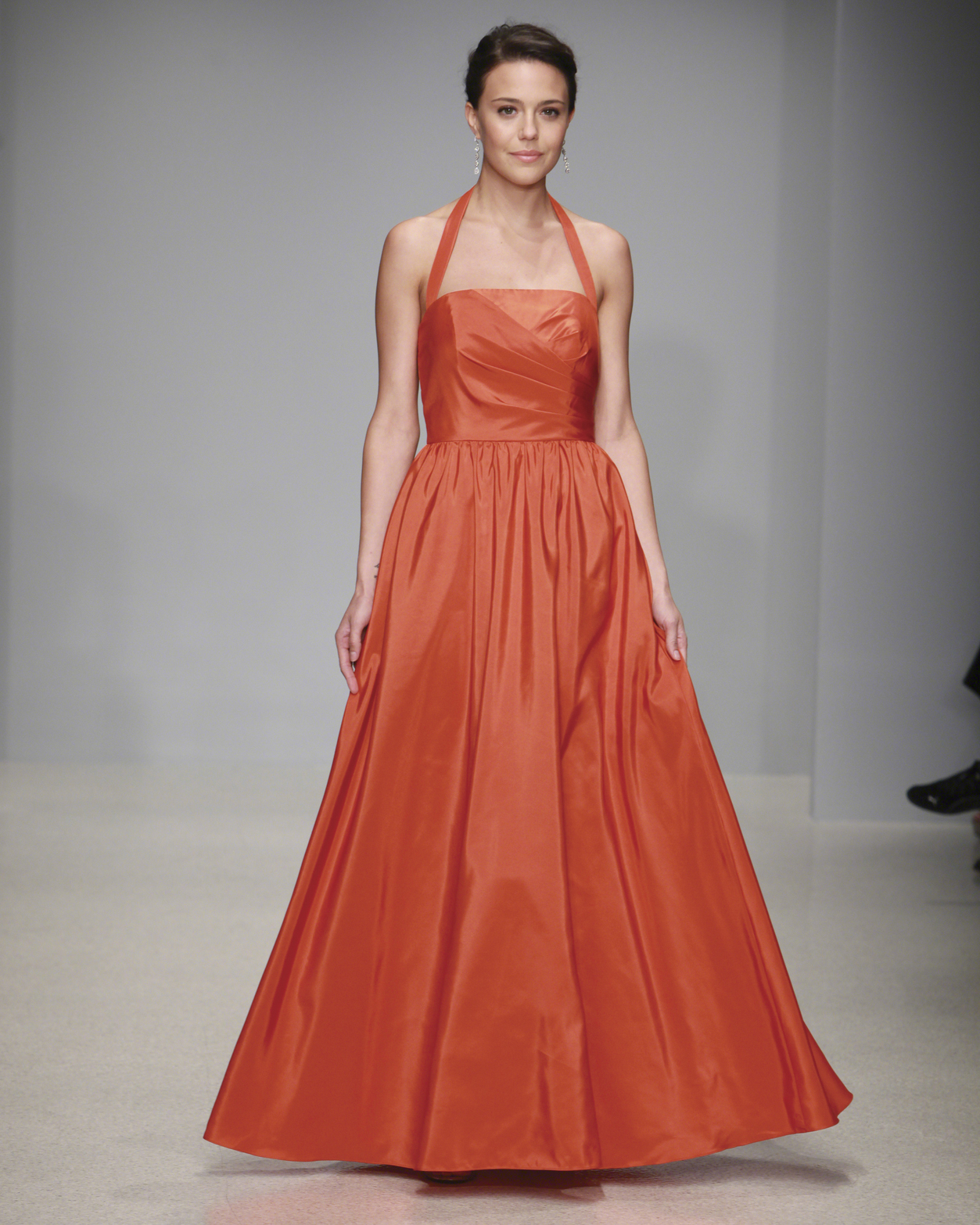 Floor-Length Orange Bridesmaid Dress