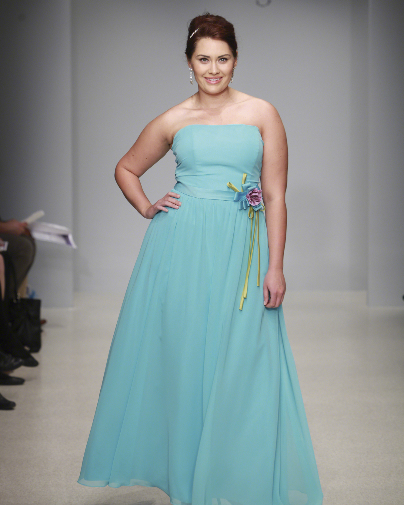 Floor-Length Aqua Bridesmaid Dress