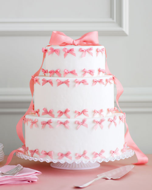 Pink Bow Wedding Cake