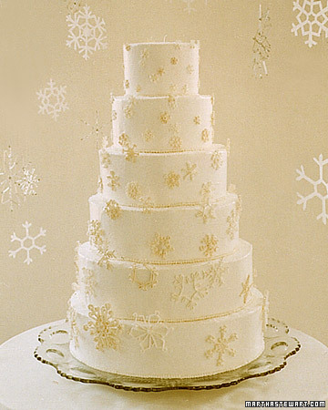Wedding Cake with a Cascade of Snowflakes
