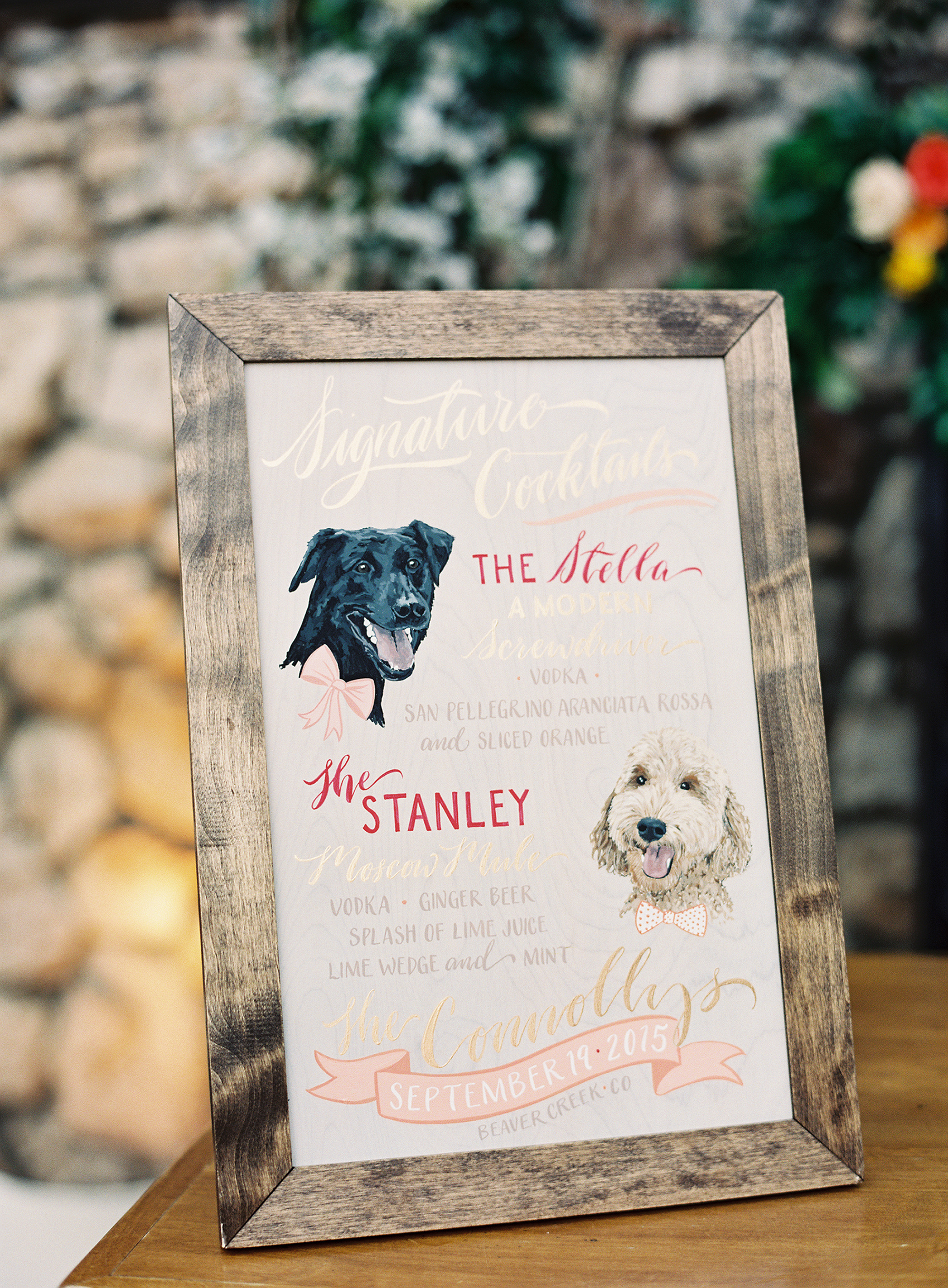 dog-inspired signature cocktail sign