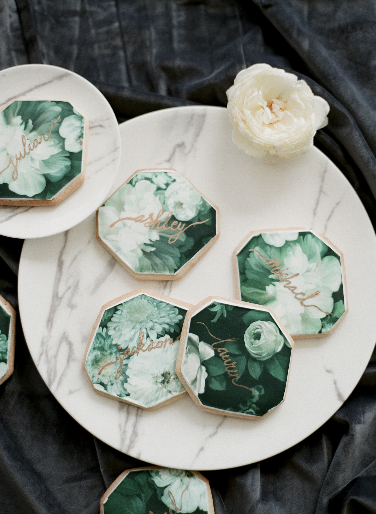 green floral printed frosted cookie design