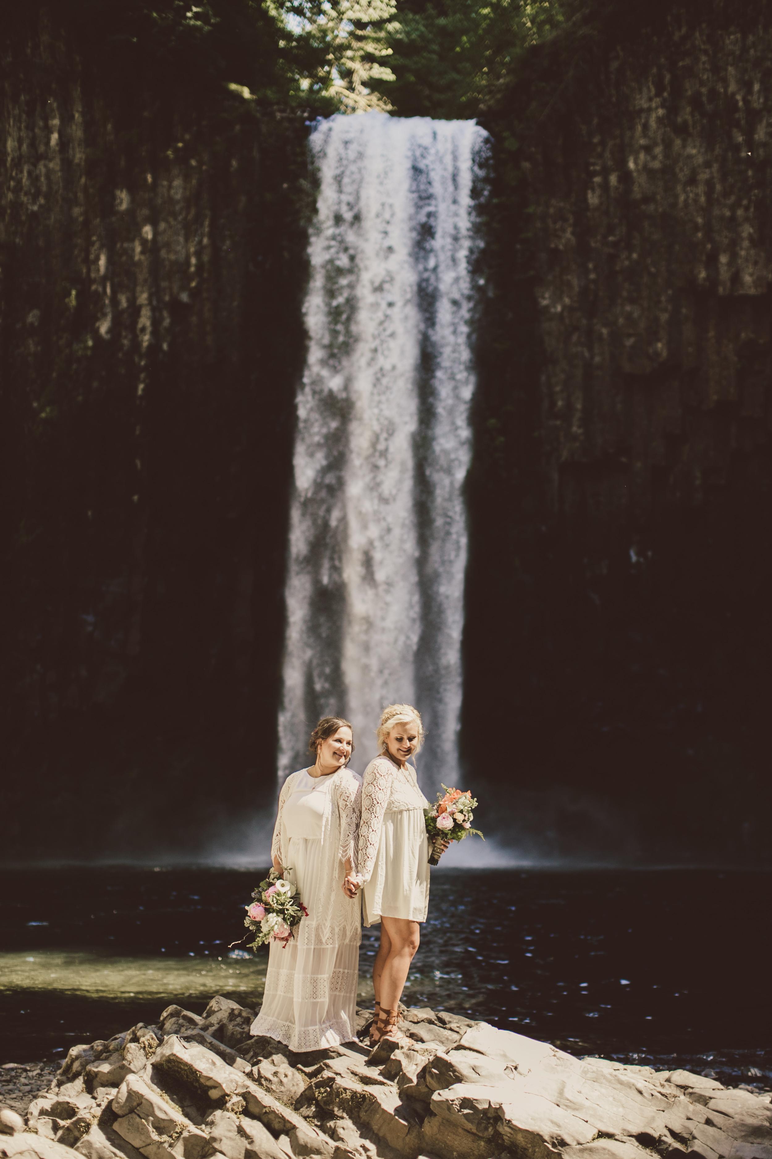 short wedding dress couple waterfall