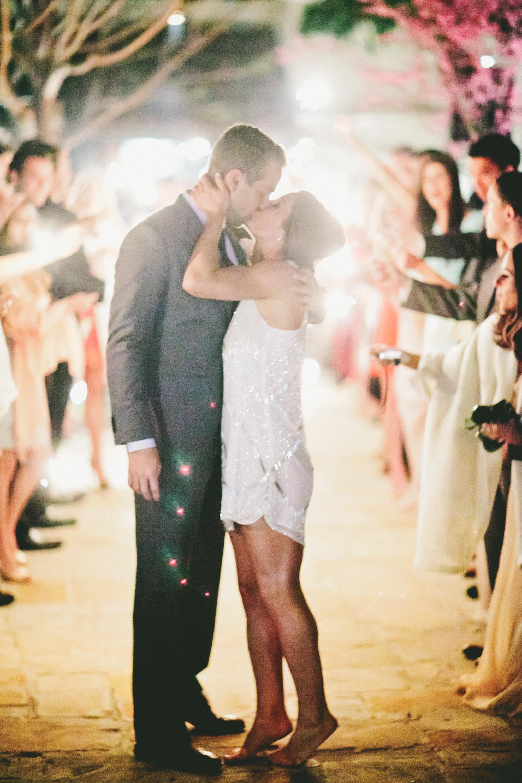 short wedding dress couple kissing