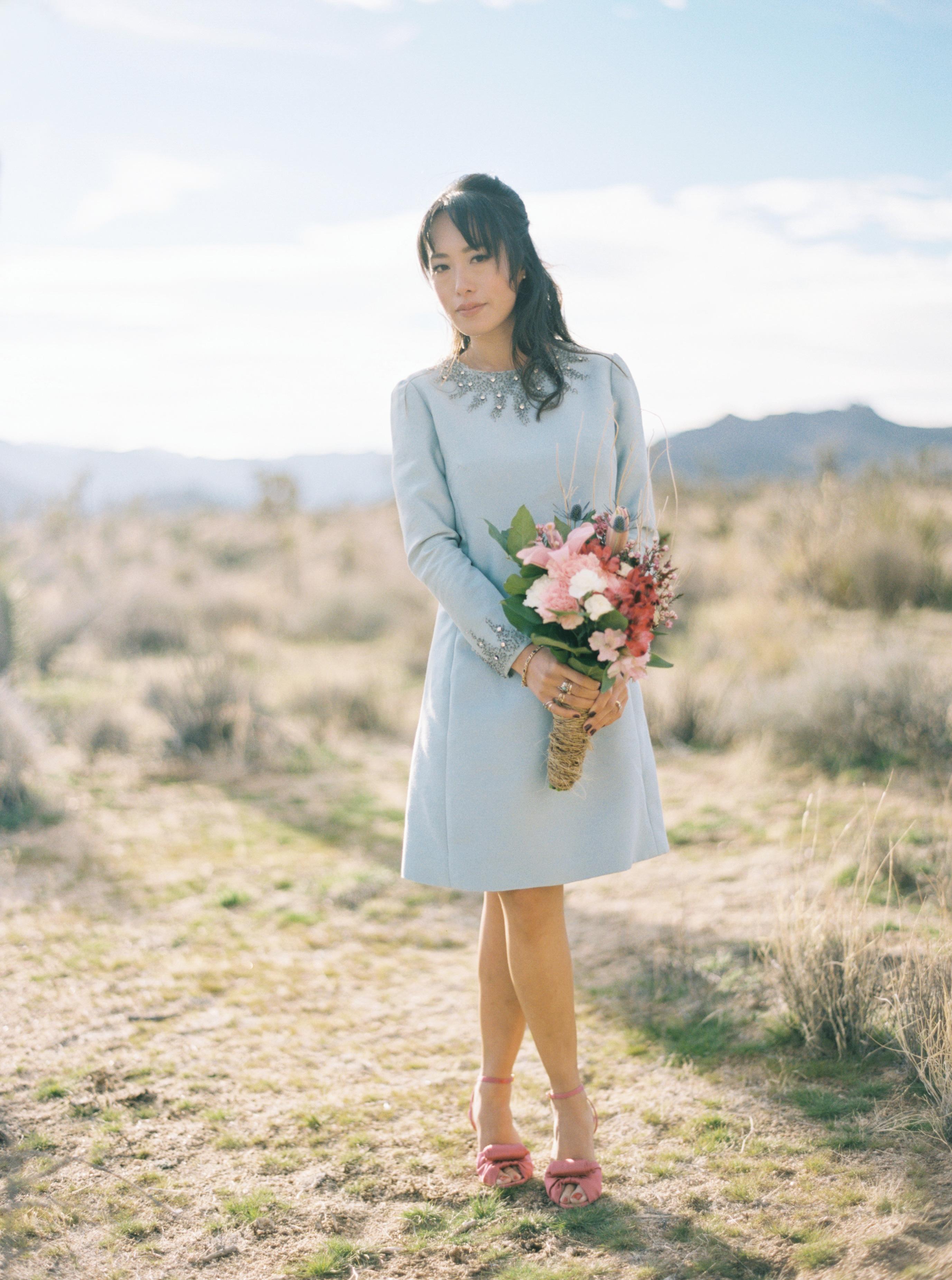 blue short wedding dress pink shoes long sleeve