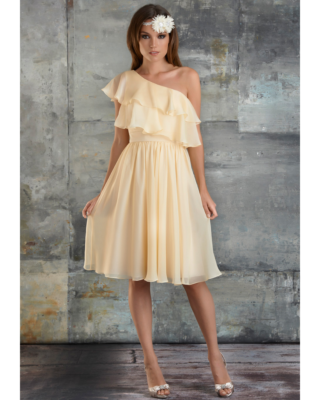 Yellow One-Shoulder Bridesmaid Dress