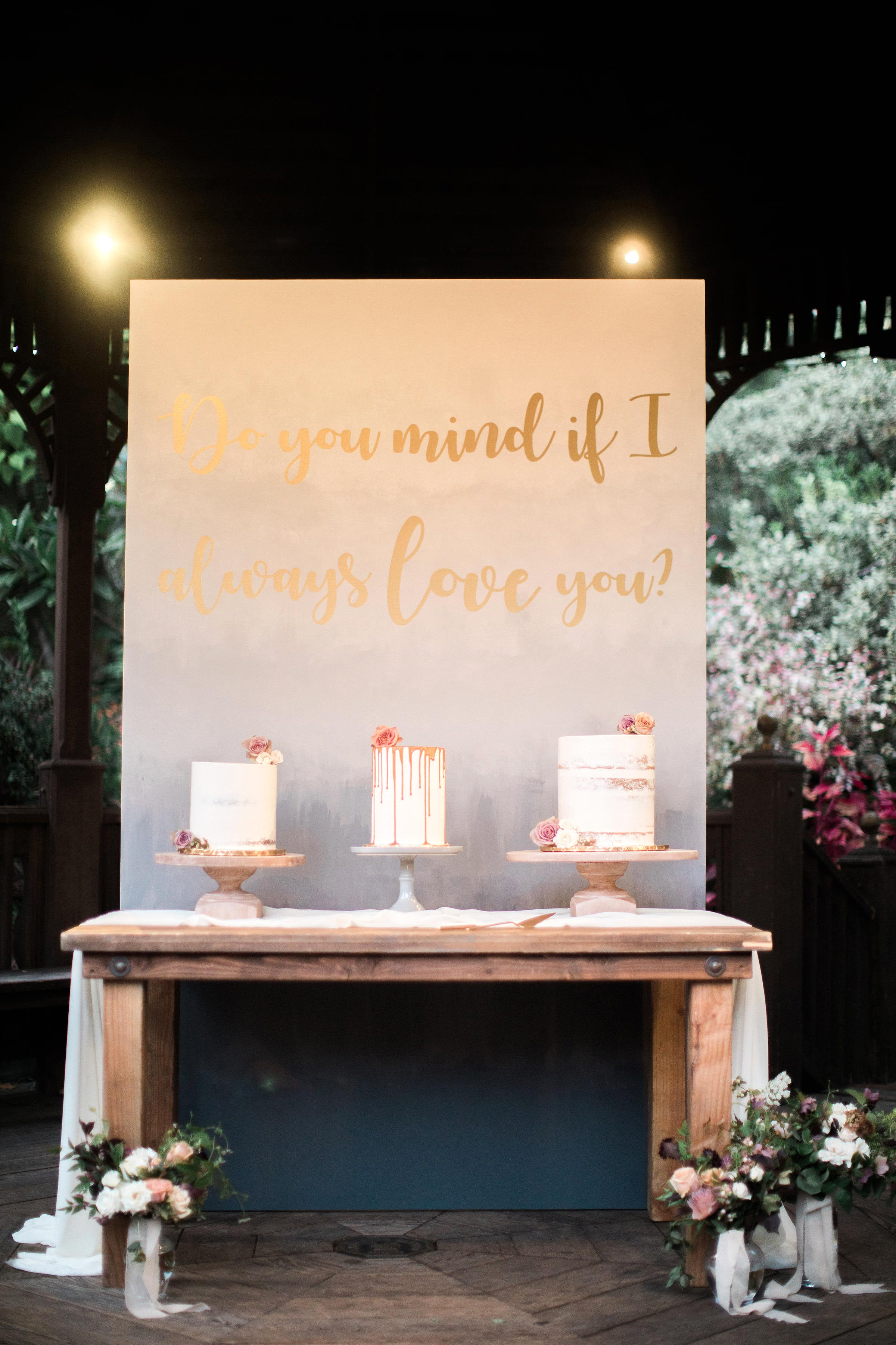 cake table wedding sign