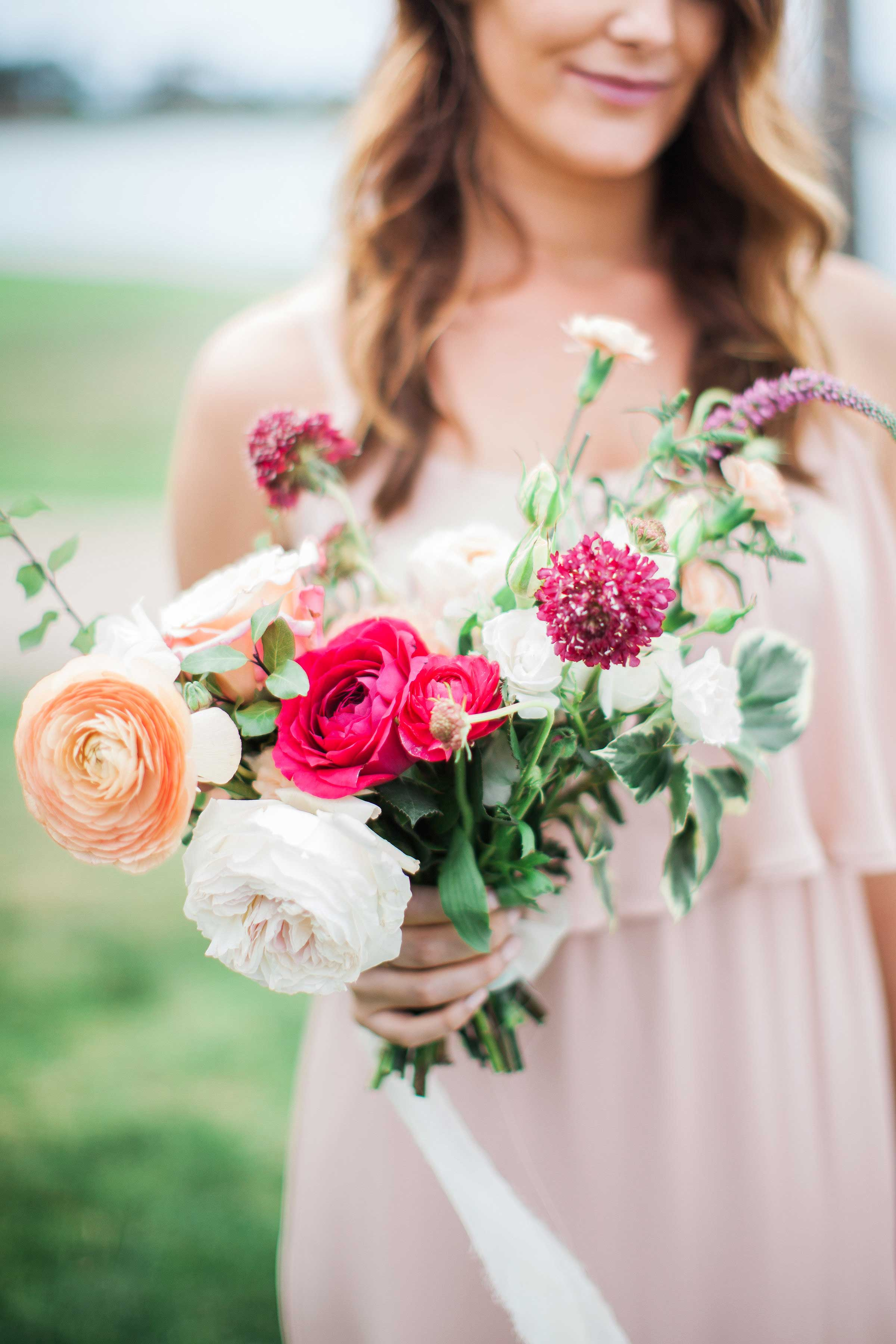 white and colorful bouquet