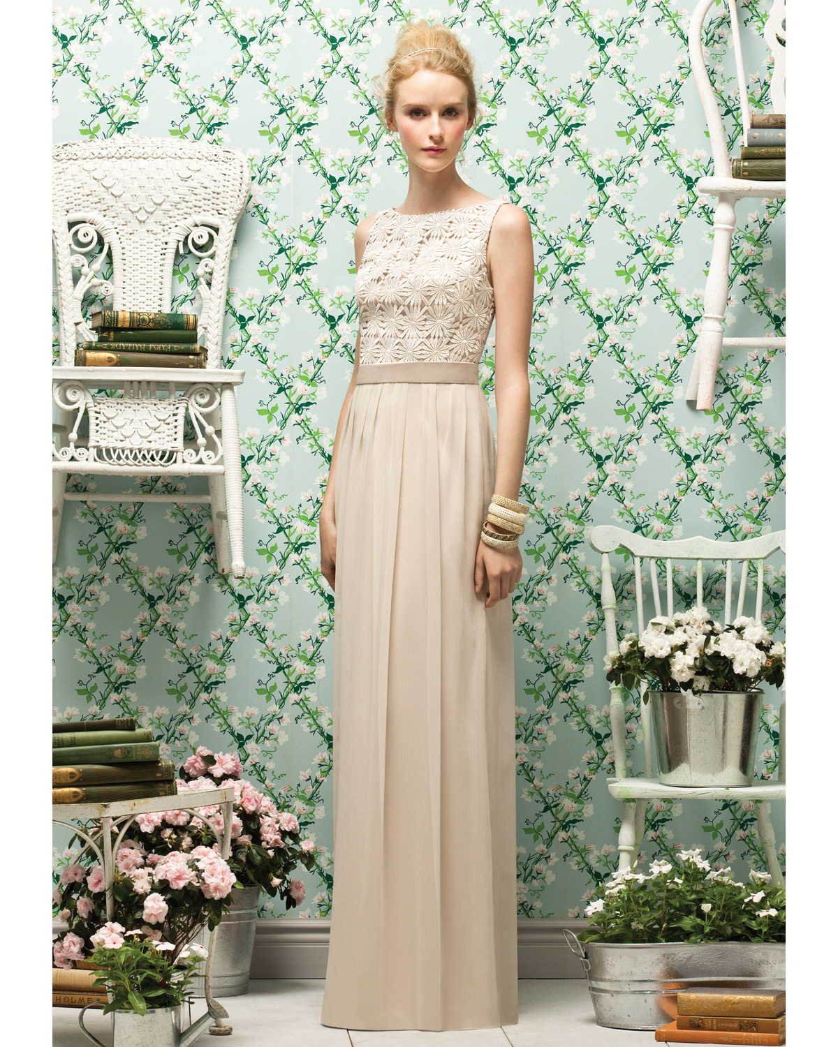Long Beige Bridesmaid Dress