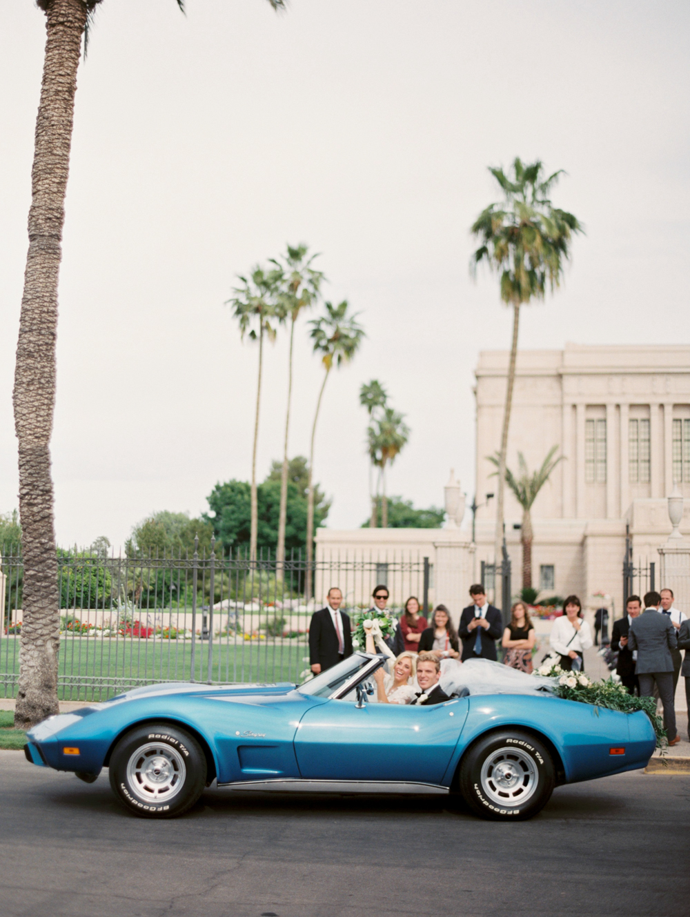 blue wedding getaway car