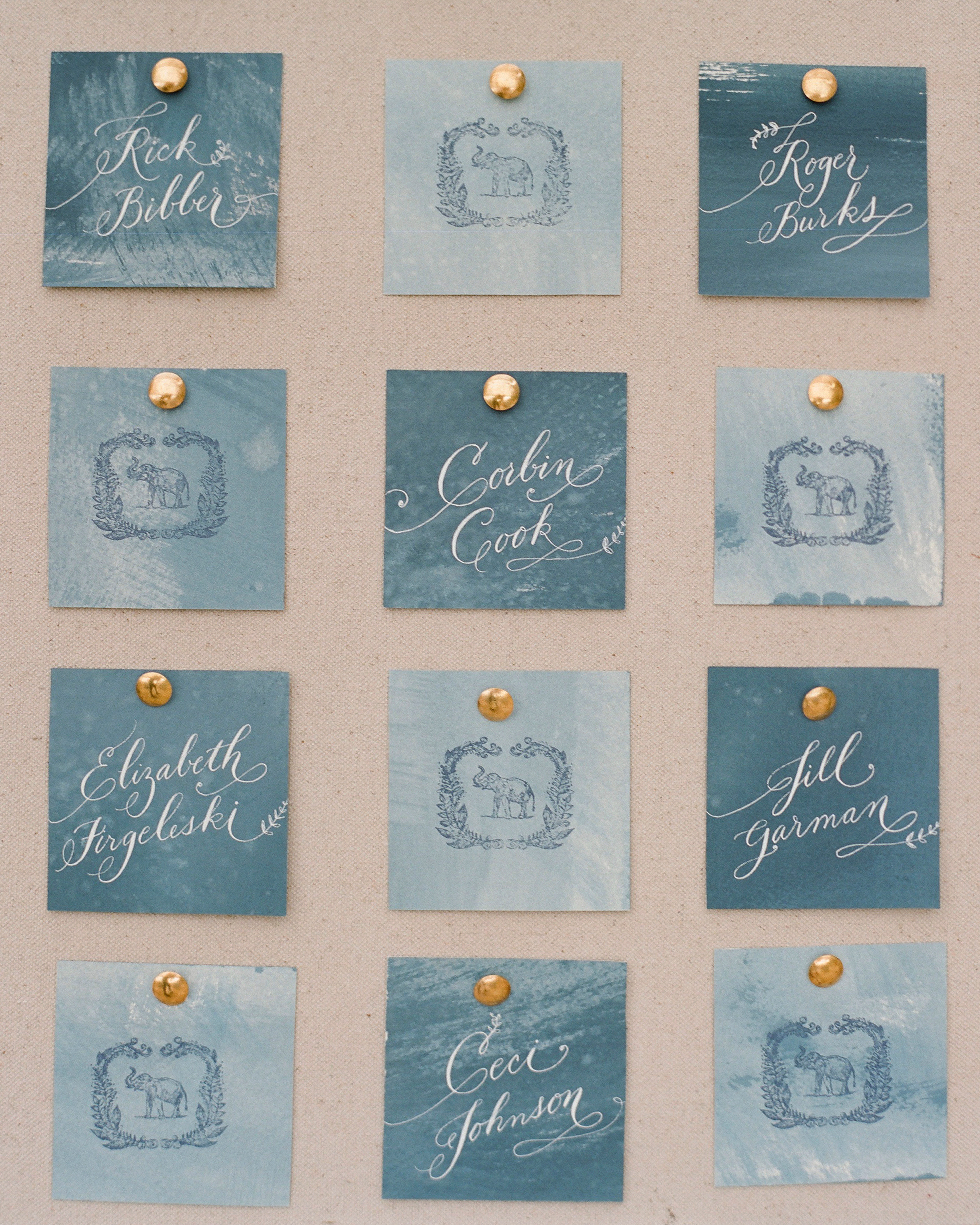 What's the proper way to organize escort cards for guests with different last names?