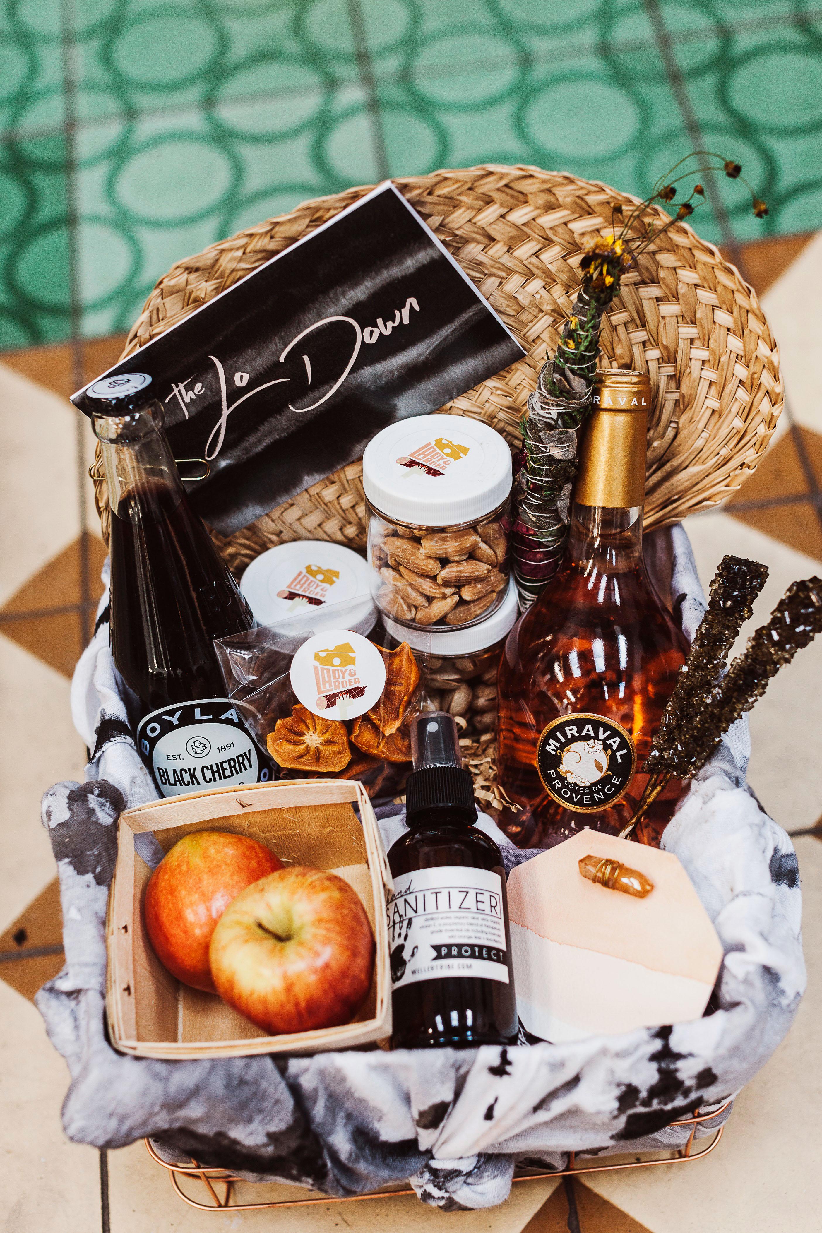lori john wedding california welcome basket