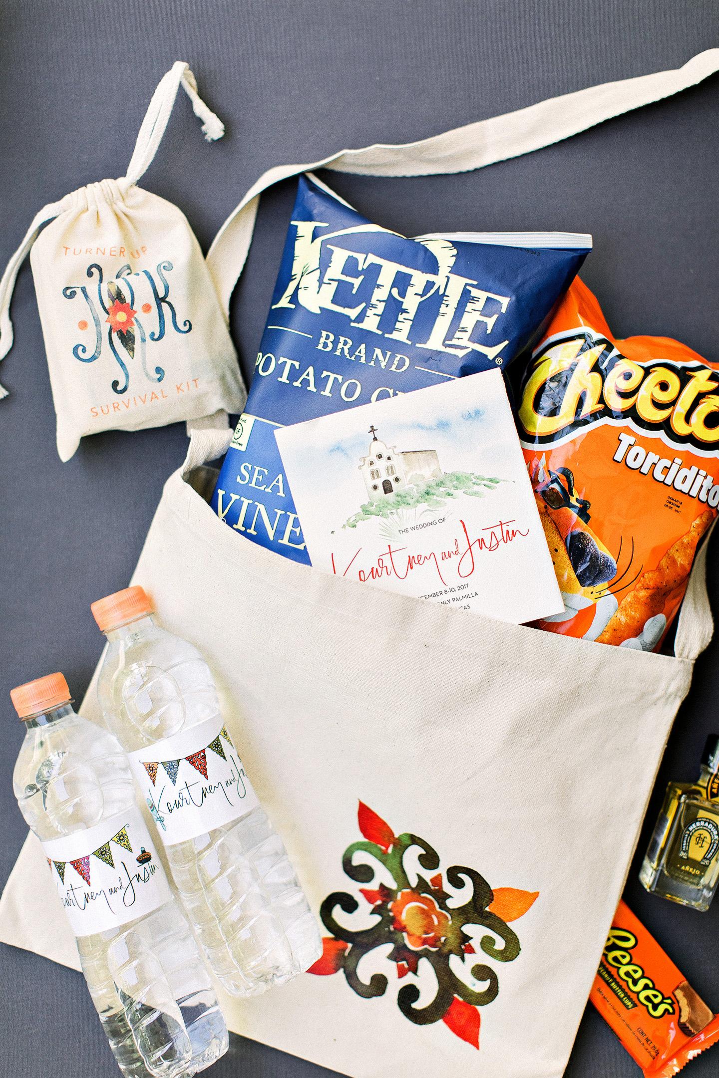 kourtney justin wedding mexico welcome bag